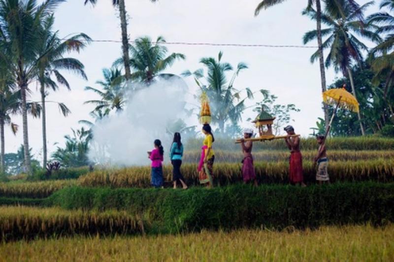 Paysages de rizières, Jatilwhui , lacs de montagne et temple sur l'eau